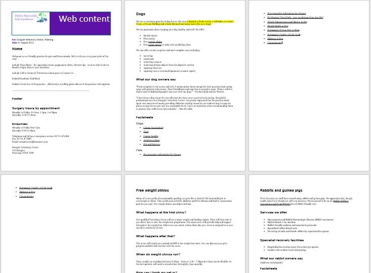 SEO (Search Engine Optimised) web content and metadata